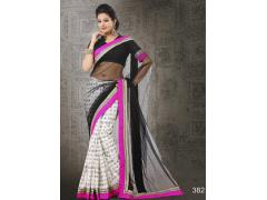 Beauteous Black & White Net & Bhagalpuri Silk Saree