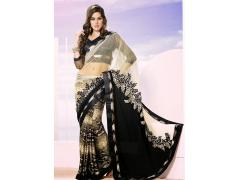Attractive Off White, Beige & Black Net & Satin Half & Half Saree