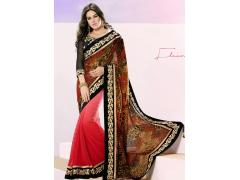 Attractive Golden Orange Shaded Light Red Half N Half Saree